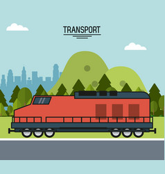 colorful poster of transport with train on the vector image vector image