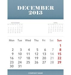 December 2013 calendar design vector image vector image