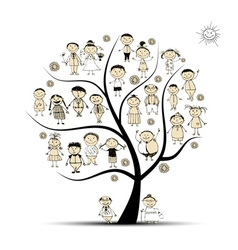 Family tree relatives people sketch vector image vector image