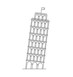 leaning tower of pisa italy line icon vector image vector image