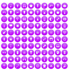 100 light icons set purple vector