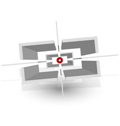 3d crosshair reticle target mark icon w shadows vector