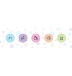 5 newborn icons vector image