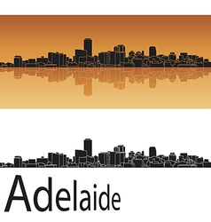 Adelaide skyline in orange background vector image