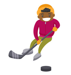 African boy playing hockey on outdoor rink vector