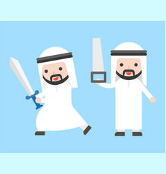 Arab businessman or manager holding sword and saw vector