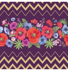 Beautiful Flower Seamless Pattern with Zigzag vector image