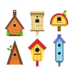 Birdhouse of wood isolated objects tree nesting vector