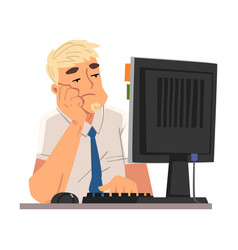 bored businessman employee man working vector image