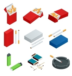 Box of matches Lighters cigarettes pack vector