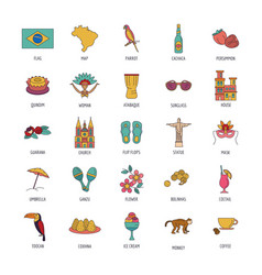 Brasil icons set cartoon style vector