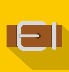 Brown elegant leather belt icon flat style vector