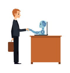 businessman and robot handshake flat vector image