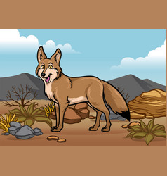 Cartoon coyotes in the desert vector