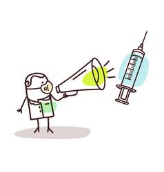 Cartoon doctor with megaphone giving vaccine vector