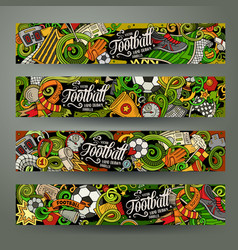 Cartoon doodles football horizontal banners vector