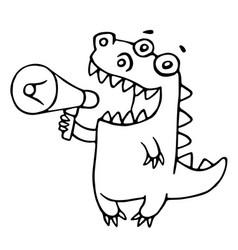 cartoon dragon says in speakerphone vector image