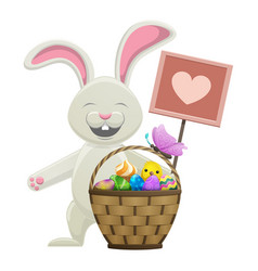 cartoon easter bunny with basket vector image