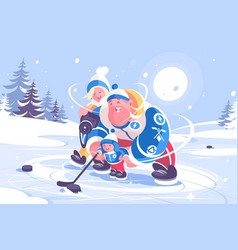 Cartoon family playing in hockey flat poster vector