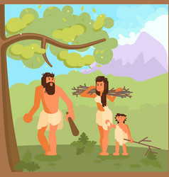 cavemen gathering brushwood vector image