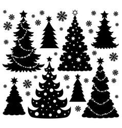 Christmas tree silhouette theme 1 vector