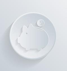 circle icon with a shadow piggy bank vector image