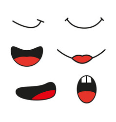 collection cartoon mouthes express emotion vector image