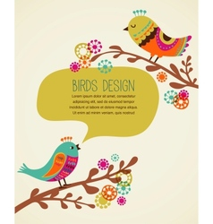 colorful background with cute decorative birds vector image