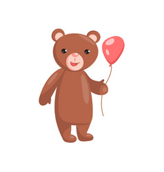 costume bear character holding red balloon cartoon vector image