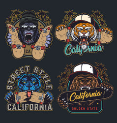 cruel animals and skateboards colorful emblems vector image