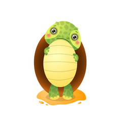 cute kawai turtle holding big egg in paws isolated vector image