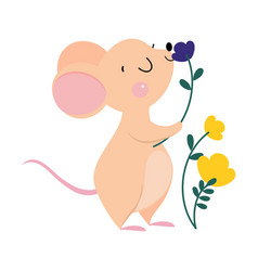 Cute mouse with pointed snout and rounded ears vector