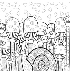 Cute snail in mushroom forest adult coloring book vector