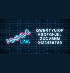 dna sequence sign in neon style with alphabet dna vector image