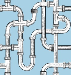 doodle pipes pattern seamless vector image