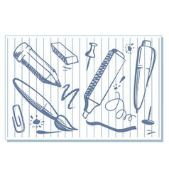 Drawings of stationery vector