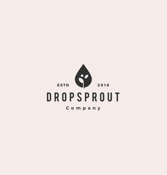 drop leaf sprout logo hipster retro vintage icon vector image