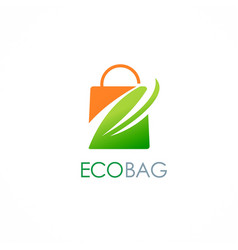 eco shopping bag leaf logo vector image