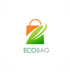 Eco shopping bag leaf logo vector