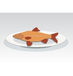 Fish on plate icon Seafood dish symbol vector