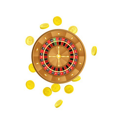 flat casino roulette wheel golden coins vector image
