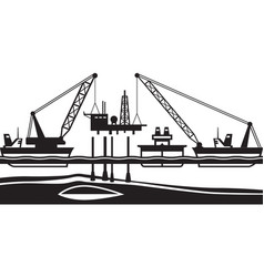floating crane mounting oil rig in the sea vector image