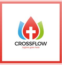 Flower crown cross logo - church calvary vector