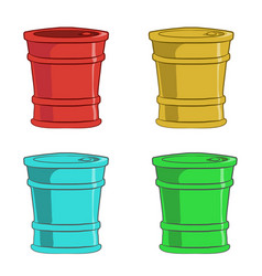 Four colored barrels vector