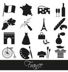 france country theme symbols and icons set eps10 vector image