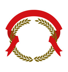 Golden olive branches and red ribbon interlace vector