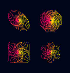 gradient line spiral designs elements vector image