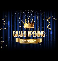 Grand opening golden invitation card vector