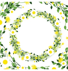 Green floral edges vector