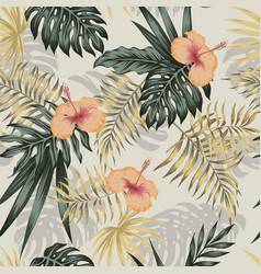 Green gold plants hibiscus seamless beige vector